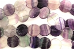 Gemstone Bead, Fluorite, Flat, Round, 12MM