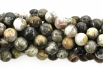 Gemstone Bead, Silver Leaf Jasper, Round, 8MM