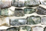 Gemstone Bead, Moss Agate, Rough Cut Rectangle, 20MM