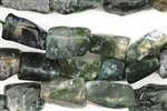 Gemstone Bead, Moss Agate, Rough Cut Rectangle, 18MM