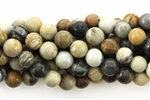 Gemstone Bead, Light Silver Leaf Jasper, Round, 8MM