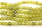 "Gemstone Bead, ""Jade"", Light Olive, Round, 6MM"