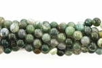Gemstone Bead, Moss Agate, Round, 6MM