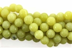 "Gemstone Bead, ""Jade"", Light Olive, Round, 8MM"