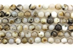 Gemstone Bead, Gray Spot Agate, Faceted, Round, 6MM