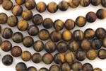 Gemstone Bead, Tiger Eye, Matte Finish, Round, 8MM