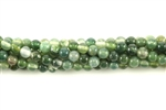 Gemstone Bead, Moss Agate, Round, 4MM