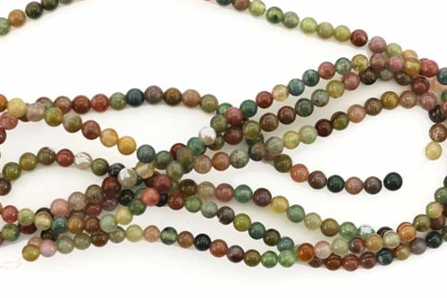 Bead, Gemstone, Fancy Jasper, India Agate, Round, 3MM