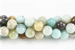 Gemstone Bead, Black Amazonite, Round, 10MM
