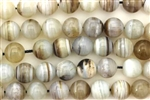 Gemstone Bead, Gray Banded Agate, Round, 10MM