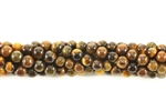 Gemstone Bead, Tiger Eye, Round, 4MM