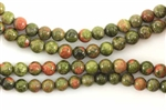 Gemstone Bead, Unakite, Round, 6MM