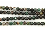 Gemstone Bead, Fire Agate, Forest Green, Faceted, Round, 6MM
