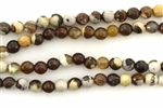 Gemstone Bead, Fire Agate, Brown, Faceted, Round, 6MM