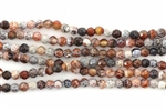 Gemstone Bead, Fire Agate, Red, Faceted, Round, 4MM