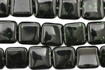 Gemstone Bead, Green Goldstone, Square, 14MM