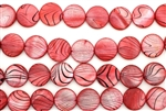 Mother Of Pearl / Red 15MM Flat Round