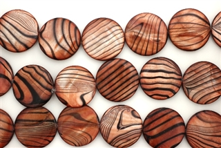 Mother Of Pearl / Brown Orange 20MM Flat Round