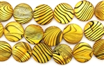 Mother Of Pearl / Dark Yellow 20MM Flat Round
