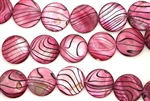 Mother Of Pearl / Raspberry 20MM Flat Round