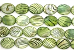Mother Of Pearl / Green 20MM Flat Oval