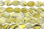 Mother Of Pearl / Yellow 18MM Flat Oval