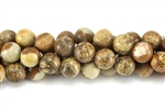Gemstone Bead, Picture Jasper, Round, 10MM