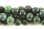 Gemstone Bead, Moss Agate, Round, 10MM