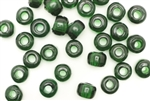Bead, Crow, Pony, Glass, India, Vintage, 9MM x 7MM, Dark Green