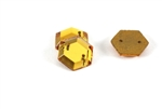 Vintage West German Sew On Rhinestone / Topaz Hexagon 12MM