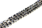 Vintage West German Rhinestone Banding / 3 Row Blue