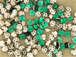 Vintage Czechoslovakian Rose Montee / Square Emerald 5.7MM