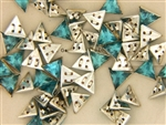 Vintage Czechoslovakian Rose Montee / Triangle Aqua 9.10MM