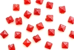 Vintage Nailhead / Square Faceted 4MM Red