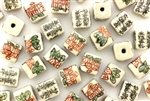 Light Ivory Colored Porcelain Beads / Cube