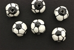 Porcelain Beads / Soccer Ball 15MM White Jet