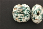 Porcelain Beads / Puffed Square 30MM White Green