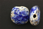 Porcelain Beads / Puffed Square 30MM White Blue