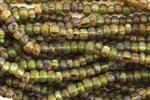 Seed Bead, Czech, Aged, Striped, Peridot Picasso Mix, 2/0