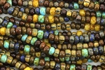 Seed Bead, Czech, Aged, Striped, Caribbean Blue, Picasso Mix, 2/0 & 3/0