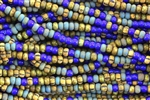 Seed Bead, Czech, Aged, Striped, Picasso-White Heart Mix, 6/0