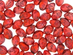 Vintage Czechoslovakian Matrix Beads / Oval Coral Red