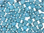 Vintage Czechoslovakian Matrix Beads / 10MM Round Turquoise Blue