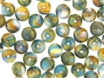 Vintage Czechoslovakian Lampwork Beads / 10MM Round Blue Green