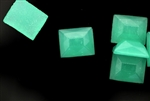 Vintage Czechoslovakian Cabochon / 11MM Rectangle,Sea Green