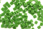 Vintage Sew On Beads / Square 4MM Green