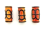 Porcelain Beads,Vintage Large Hole / Tube 35MM Orange
