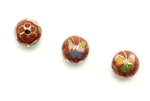 Cloisonne Beads,Vintage / Round 10MM Dark Red