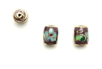 Cloisonne Beads,Vintage / Tube 11MM Plum
