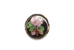 Cloisonne Beads,Vintage / Flat Round 18MM Black